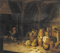 the interior of a barn with a peasant smoking a pipe by a fireside by pieter van steenwyck