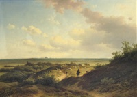 in the sunlit dunes, haarlem beyond by willem vester