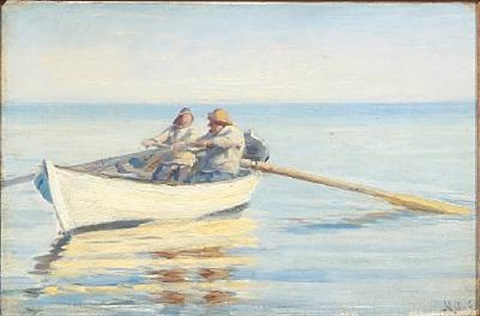 two fishermen in a rowboat by michael peter ancher