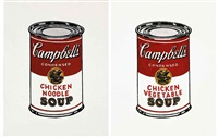 andy warhol, campbell's chicken and vegetable soup; andy warhol, campbell's chicken noodle soup (2 works) by richard pettibone