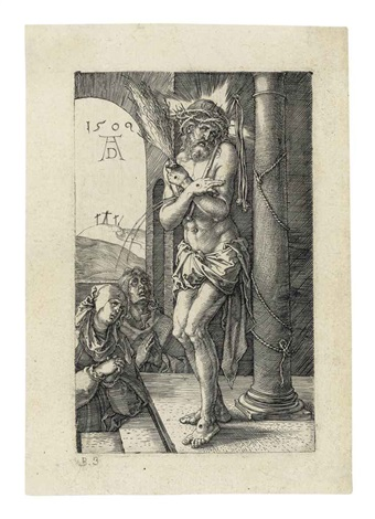 the man of sorrows standing by a column (from the engraved passion) by albrecht dürer