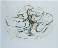 pigeons bathing in a basin during a shower of rain by liam ó broin