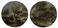 a river landscape with two fishermen in a boat (+ a wooded landscape with figures outside a farmstead; pair) by frans de hulst
