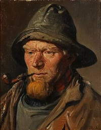 a skagen fisherman with a souwester and a pipe by michael peter ancher