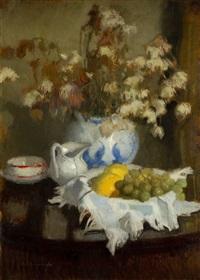 martwa natura z porcelaną i owocami - 30 by alfons karpinski