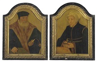 portrait of a bearded gentleman, in a black coat and cap... (+ portrait of a lady, in a black gown and white wimple, holding a book; pair) by bartholomäus (barthel) bruyn the younger