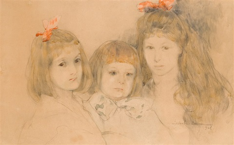 three children portrait by stanislaw bohusz siestrzencewicz