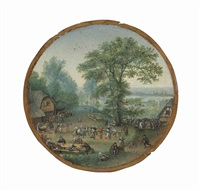 a wooded landscape with figures dancing and merry-making in a village by lucas van valkenborch