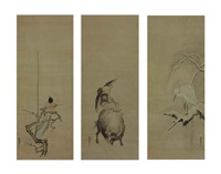 magpie on plum; isei zenshi on a water buffalo; heron on snow-covered willow (triptych) by kano yasunobu