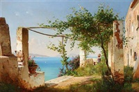 view from the amalfi coast in italy by carl frederik peder aagaard