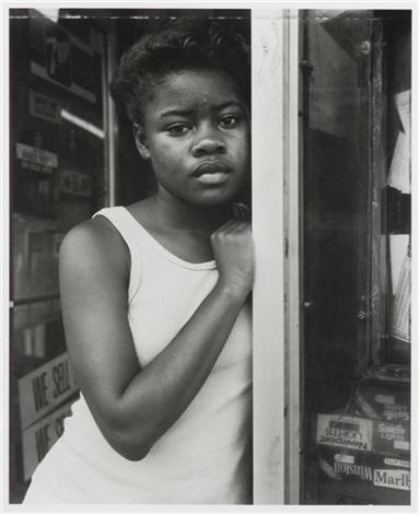 a girl in deli doorway, fulton street, brooklyn, ny by dawoud bey