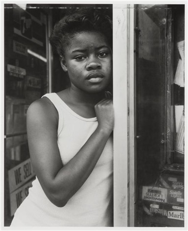 a girl in deli doorway fulton street brooklyn ny by dawoud bey