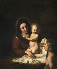 vierge à l'enfant avec saint jean-baptiste offrant une pomme by nicolas de hoey the younger
