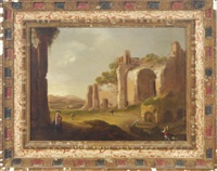 an italianate landscape with figures amongst ruins by charles cornelisz de hooch