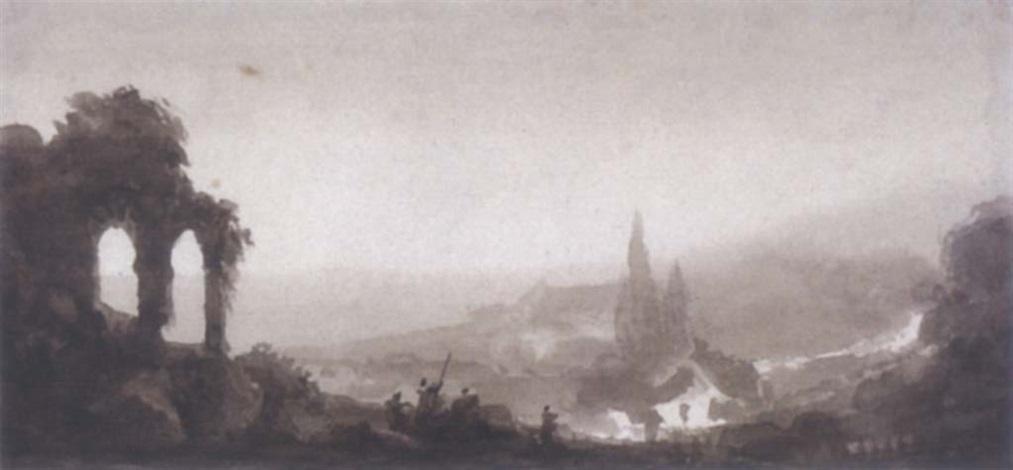ruines antiques dans un paysage imaginaire by louis jaques mandé daguerre