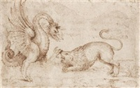 a lion confronting a dragon by paolo uccello