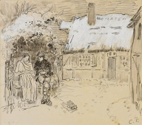 sous la tonnelle study for daphnis and chloë by camille pissarro