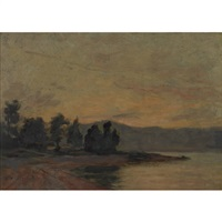 sunset on the lake by william brymner