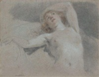 etude de nu féminin allongé en buste (study) by noël nicolas coypel