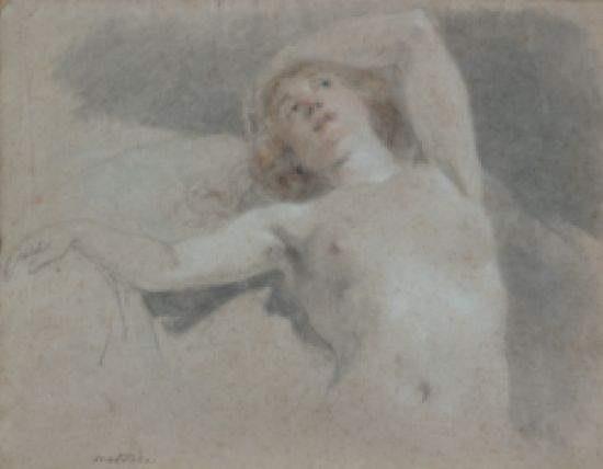etude de nu féminin allongé en buste study by noël nicolas coypel