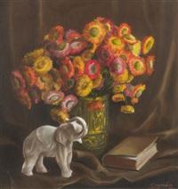 composition aux fleurs et à l'éléphant by simone dujardin
