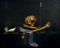 vanité avec un chandelier et ossements sur une table recouverte de drap vert by french school (17)