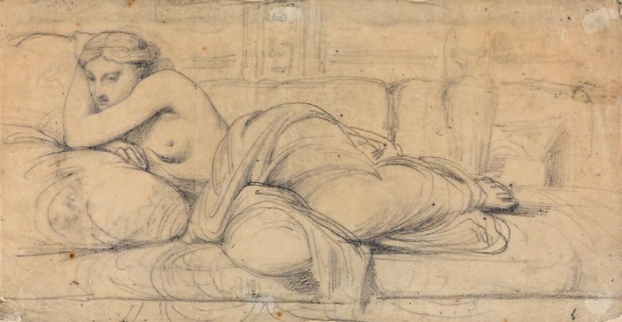 femme demi nue étendue by théodore chassériau