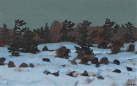 pines in winter by bruno joseph bobak