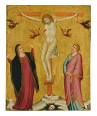 the crucified christ between the mourning madonna and saint john by francesco di giotto di bondone