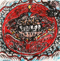 sketch for red circle painting by john meredith