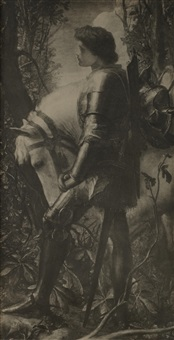 photographic facsimile of g. f. watts's sir galahad of 1862 by frederick hollyer
