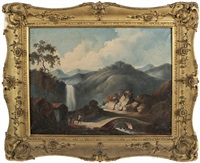 domestic scene of figures crossing a bridge with a waterfall and mountains in the background by youqua