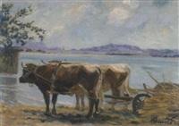 chiemsee-landschaft mit einem ochsenkarren im vordergrund by karl august arnold