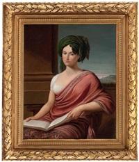 sitz-portrait einer dame mit buch (lady hamilton?) vor pfeiler und landschaftsausschnitt by andrea appiani