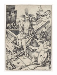 the resurrection, from: the passion of christ by martin schongauer