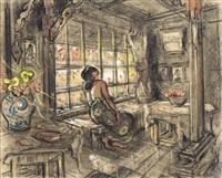 study of a balinese woman looking out of a window by adrien jean le mayeur de merprés