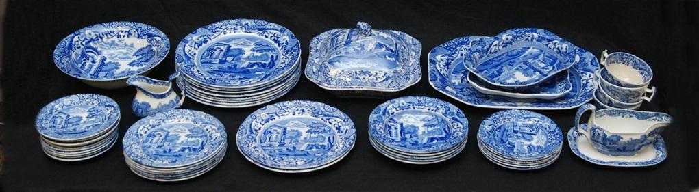 49pc copeland spode italian blue white china set