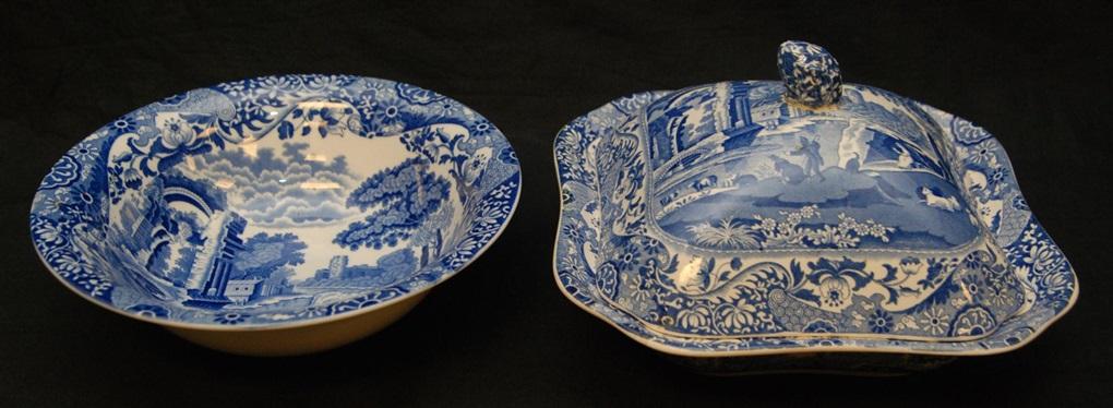 49pc copeland spode italian blue & white china set