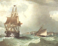 the frigate 'the thames' in rough seas with boats of the royal yacht squadron and royal thames yacht club racing by w. dunnage