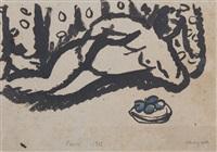 nu allongé à la coupe de fruits by marc chagall