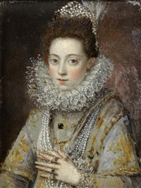 portrait of a lady, half-length, in an embroidered dress and pearls by sofonisba anguissola