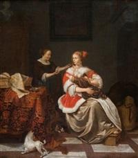 jeune femme tenant un enfant sur ses genoux avec sa, suivante dans un intérieur by pieter cornelisz van slingeland