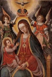 maria mit kind von zwei engeln gekrönt, darüber die hl. geist-taube by austrian school (17)