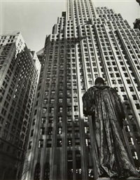 john watts statue: from trinity churchyard, looking toward one wall street, manhattan by berenice abbott