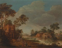 landscape with figures by roelandt savery