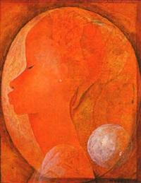 visage dans l'oval ocre by bernard séjourné
