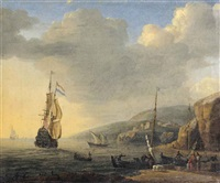 a mediterranean landscape with merchants and fishermen loading boats by reinier nooms