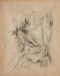 étude de buste d'homme et deux études de mains (recto-verso study) by pietro longhi
