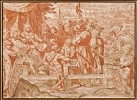 la partie d'échecs devant le siège de gênes avec les armoiries du cardinal marzio ginetti by giulio benso