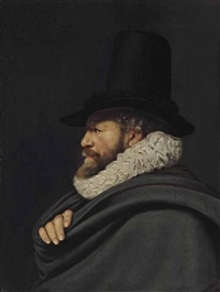 portrait of a gentleman, bust-length by thomas de keyser